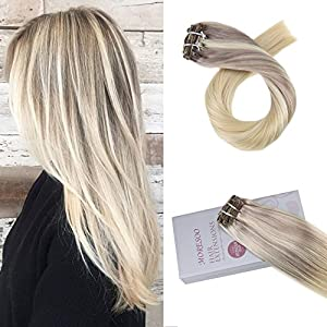Moresoo Clip on Hair Extensions Human Hair 22 Inch Color #18 Fading to #22 and #60 Real Hair Extensions Clip in Double Weft 120g/pack Colored Hair Extensions Clip in Human Hair