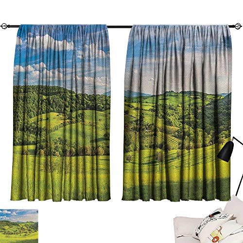 Tuscany Sliding Curtains Tuscany Italy Sunlight Homestead Plantation Farms Pathway Greenery Print Set of Two Panels 55