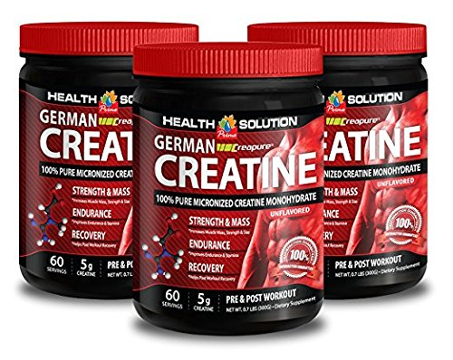 Creatine protein powder - GERMAN CREATINE CREAPURE MONOHYDRATE 300 GRAM 60 SERVINGS - improve performance (3 Bottles)