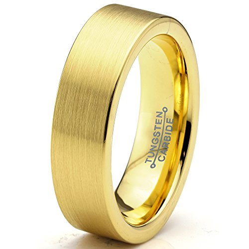 Charming Jewelers Tungsten Wedding Band Ring 6mm for Men Women Comfort Fit 18K Yellow Gold Plated Flat Cut Brushed Polished Size 12.5 by Charming Jewelers