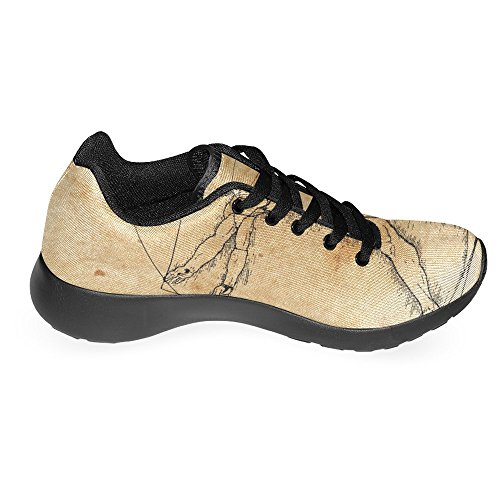 Interestprint Femmes Jogging Running Sneaker Léger Aller Facile À Pied Chaussures De Course Confort Décontracté Un Homme Vitruvien Très Stylisé Avec Hachures Et Des Tons Sépia Multi 1