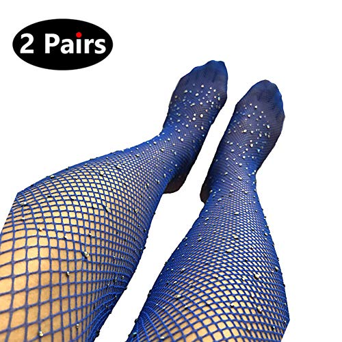 (Sexy Party Crystal Mesh Stockings 2 Pairs Sparkle Rhinestone Fishnets Tights (Large, Navy))