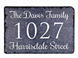 """Sassy Squirrel Beautifully Handcrafted and Customizable Slate Home Address Plaque (12'' x 8 or 16""""x10"""") Personalized House Sign with and mounting Hardware. Improve The Curb Appeal of Your Property"""