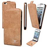 xhorizon TM ZA5 Retro Premium Vertical Up and Down Flip Nubuck Leather Built-in Credit Card Slots Holder Wallet Business-Style Case Cover Skin For iPhone 5/5S