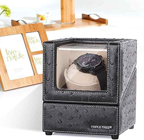 Single Watch Winder for Automatic Watches, with Super Quiet Motor, 4 Rotation Mode Setting, Flexible Plush Pillow Fit Lady and Man Watches