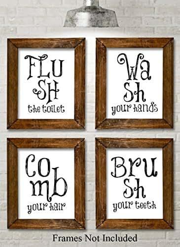 Bathroom quotes and sayings art prints set for Bathroom art amazon