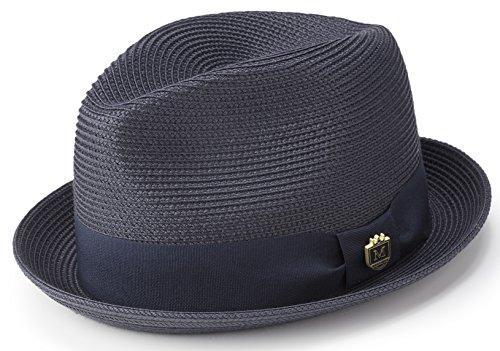 MONTIQUE Braided Straw Stingy Brim Pinch Fedora Hat Matching Grosgrain Band H-55 (Medium, Navy)