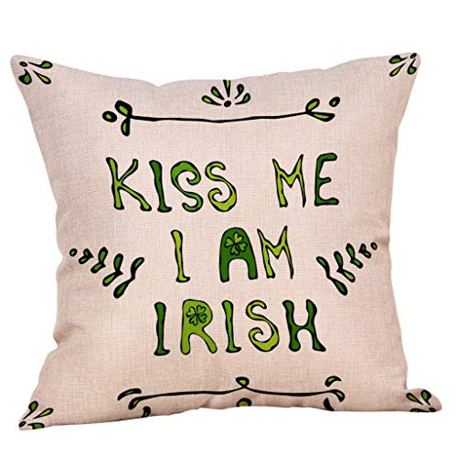 Irish Pride Shamrock Throw Pillowcases Green Leprechauns Cushion Cover for St. Patricks Day Decor Bedroom Home Sofa Office Car 18 x 18 Inch Cotton Linen (C)