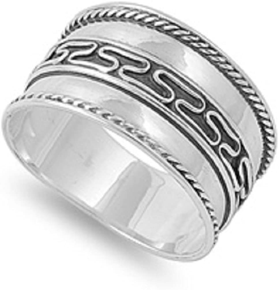 925 Sterling Silver Bali Concept Tribal Design Ring