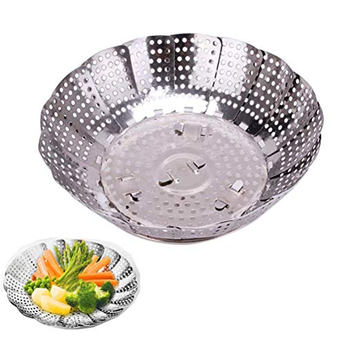 Price comparison product image LQT Ltd 1Pcs Multiuse Stainless Food Steamer Steaming Rack Drawer Kitchen Folding Steamer Bowl Vegetable Fruit Steamer Basket Drop Ship