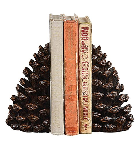 - Pinecone Bookends SET OF 2 Distressed Brown Finish Country Home Library D