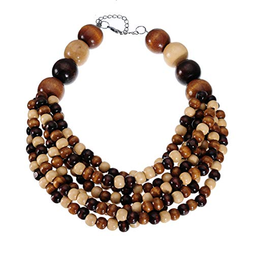 Mozhuo African Multilayer Wood Beaded Statement Bib Necklace Chunky Choker Bib Necklace for Women Fashion Novelty Jewelry Handmade (Strands Wooden Necklace)