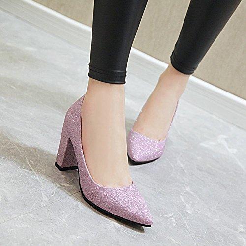 Mee Shoes Women's Simple Slip On Block Heel Shining Court Shoes Purple wcusgKCCl