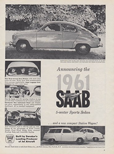 Used, Announcing the 1961 Saab coupe & wagon ad 1961 SCI for sale  Delivered anywhere in USA