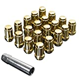 Upgr8 S-series 20 Pieces Steel Closed Ended Wheel Lug Nuts with Key (M12 X 1.5MM, Gold)