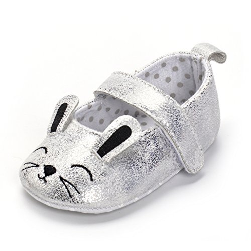 Baby Girls Soft Sole Glitter Shoes Cute Cat Mary Jane Moccasins Sneakers Silver, 3-6 - 1801 Fashion