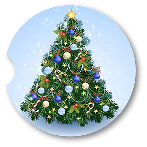 (Vintage Pastel Christmas Tree Sandstone Car Coasters - Set of 2)