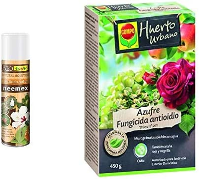 Flower 70581 70581-Insecticida Natural, 500ml, No Aplica, 6.5x6.5x25 cm + Compo Azufre fungicida Anti oídio, Microgránulos solubles en Agua, 450 g