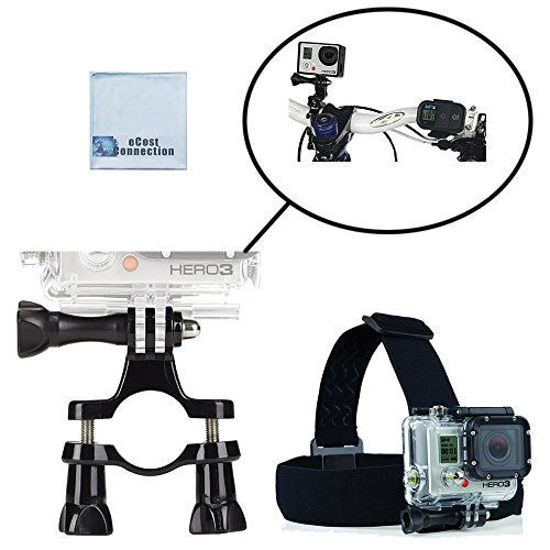Handlebar/Seatpost Mount + Head Strap Mount for Bikes. Use with GoPro HERO1, HERO2, HERO3, HERO3+, HERO4, HERO4 Session, HERO5 & eCostConnection Microfiber Cloth (Go Pro Hero3 Head Strap compare prices)