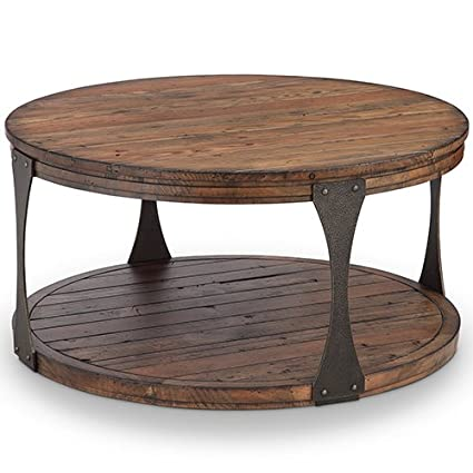 magnussen furniture round coffee table in distressed bourbon finish - Distressed Round Coffee Tables
