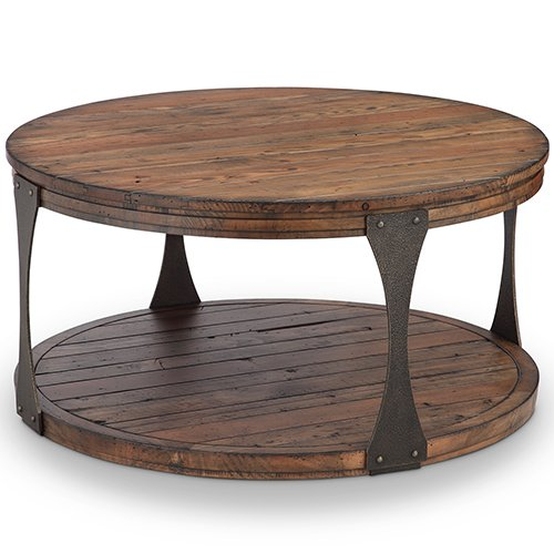 Cheap Montgomery Industrial Reclaimed Wood Round Coffee Table with Casters in Bourbon finish