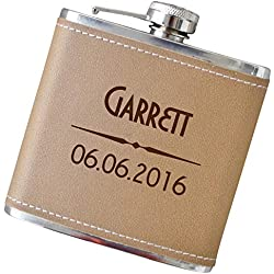 Personalized Flask with Complimentary Engraving - Your Choice of Colors, 6 oz Stainless Steel Flask for Groomsmen, Fathers Day, Anniversary Gifts