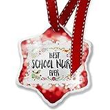 Christmas Ornament Happy Floral Border School Nurse, red - Neonblond