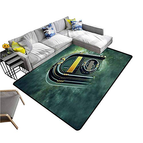 Music Garden Oriental Box - Floor Mat Entrance Doormat Jukebox,Abstract Grunge Antique Radio Music Box on Blurry Backdrop Print,Forest Green Yellow and White 80