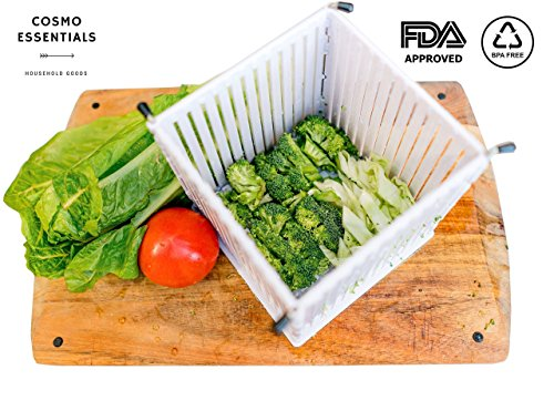 Cosmo Essentials Salad Cutter Bowl, Fruit & Vegetable Dicer - FDA Approved Salad Slicer Set, Collapsible Bowl & Strainer, Safe Chopper Bowl, Fast & Easy Fruit / Vegetable Slicer ( Large Family Size )