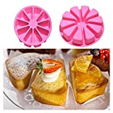 jelly donut pan - FTXJ Silicone Donut/Cake/Bread/Pudding/Jelly/Handmade Soap Baking Mold Mould Pan (10 Grids Triangle)