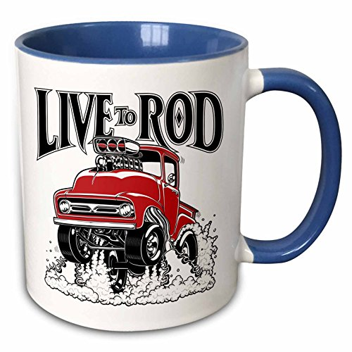 3dRose Mark Grace CARS AND WILD RODS - live to rod - Live to rod with this 1956 street racing pick up, wheelies and flames - 15oz Two-Tone Blue Mug (mug_217341_11)