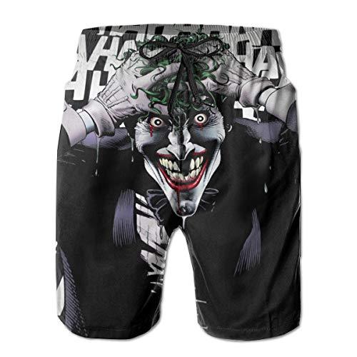 Jokers Smile Mens Swim Trunks Summer Quick Dry Board Shorts Elastic Waist Swimwear Bathing Suit with Mesh Lining/Side Pockets White -