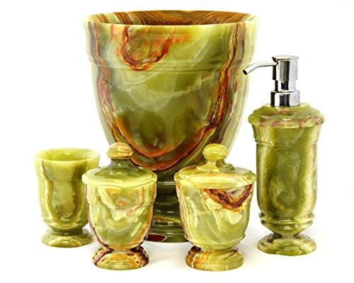 Nature Home Decor 5405CG Classic Green Onyx 5-Piece Bathroom Accessory Set of Tasmanian Collection