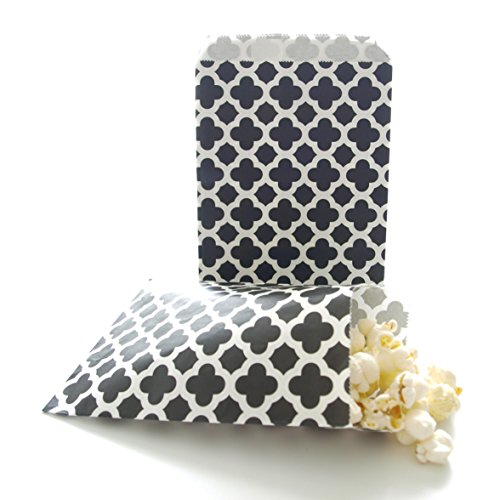 Black Wedding Favor Bags, Floral Spanish Tile Design (25 Pack) - Graduation Candy Buffet Party Supplies, Kids Birthday Loot (Black And Spanish)
