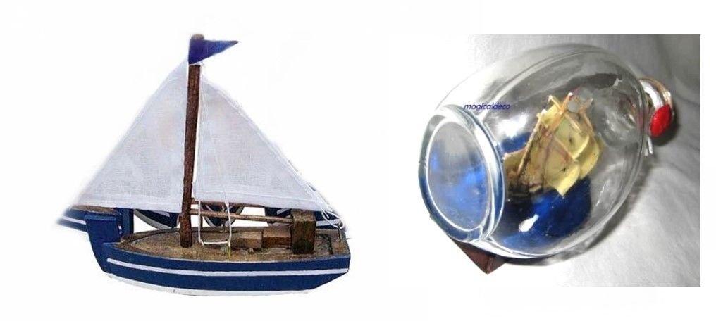 Pequeño Barco de madera/plástico del Tronco de Submarino Toldo 10 cm + Santa Maria de triángulo Botella: Amazon.es: Hogar