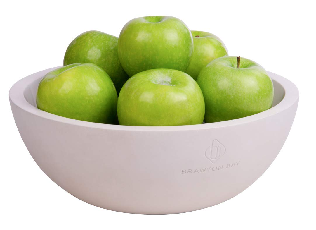 Decorative Fruit Bowl for Kitchen or Dining Room, Concrete, White - Extra Large Food Bowls for Snacks, Candy - Handmade Kitchen Accessories for Tables and Countertops, 12'' Diameter by Brawton Bay