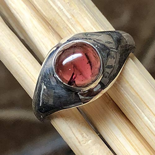 - Natural 1ct Cabochon Garnet 925 Solid Sterling Silver Solitaire Ring sz 7.5