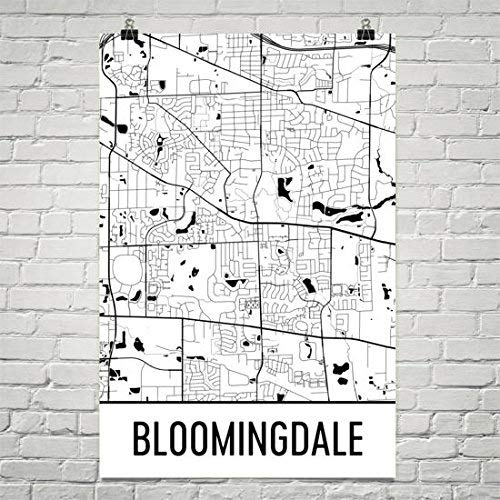 Amazon Com Bloomingdale Il Map Bloomingdale Illinois Art