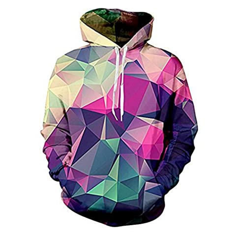 Uideazone Collage 3d Cool Diamond Pullover Sweatshirt Hoodie Novelty Outwear