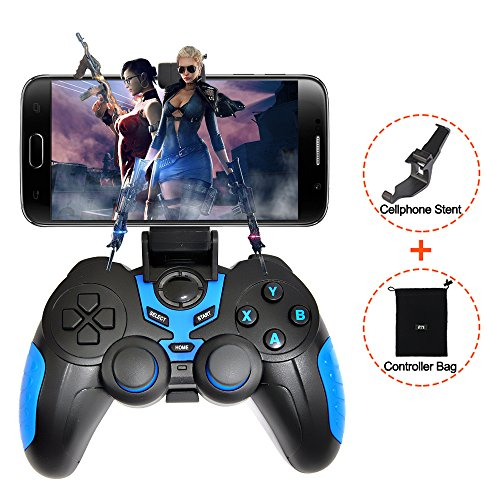 XFUNY Wireless Bluetooth Game Controller Rechargeable Gamepad for Android/iOS/PC/Tablet with Clip (Blue) (Pc Rechargeable)