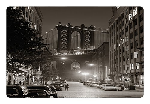 Lunarable Urban Pet Mat for Food and Water, Manhattan Bridge from Street at Night Downtown New York States United States Photo, Rectangle Non-Slip Rubber Mat for Dogs and Cats, Army Green