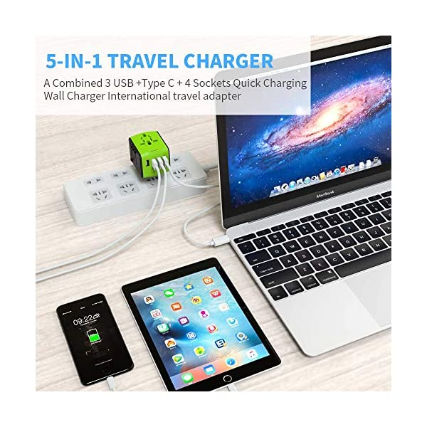 Green EU JMFONE International Travel Adapter Universal Power Adapter Worldwide All in One 4 USB with Electrical Plug Perfect for European US UK AU 160 Countries