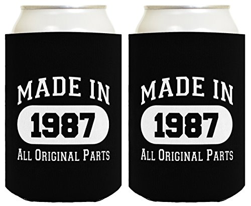 Made in 1987 30th Birthday Gift 2 Pack Can Coolies Black