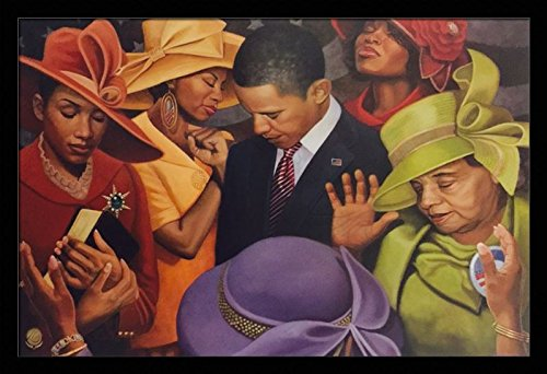 Citizens United (President Obama - Religious/Church) - Henry Lee Battle 24x36 Black Framed - African American Black Art Print Wall Decor Poster #6A9