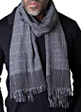 Anika Dali Men's Vincent Classic Slim Grey Check Plaid Scarf, Lightweight & Soft