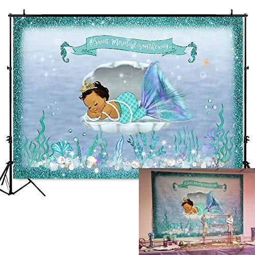 Mehofoto Mermaid Baby Shower Backdrop Under Sea Mermaid Photography Background 7x5ft Vinyl Little Mermaid Baby Shower Party Banner Backdrops]()
