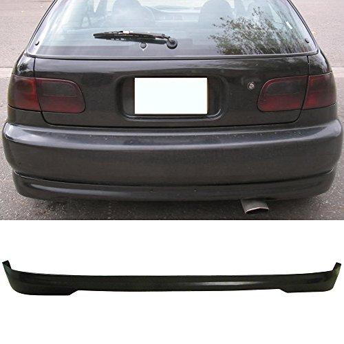(Rear Bumper Lip Fits 1992-1995 Honda Civic 3Door Hatchback | T-R Style PU Black Rear Lip Spoiler Splitter by IKON MOTORSPORTS | 1993 1994)