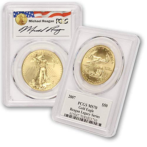 2007 P 1 Oz American Gold Eagle Coin G$50 MS70 PCGS Reagan Legacy - 2007 Coins Gold Eagle American