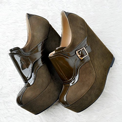 15cm Buckles Handmade Closed Kolnoo Womens Platform High Deepbrown Wadge Pumps Heel Toe Fashion Shoes qtg1w