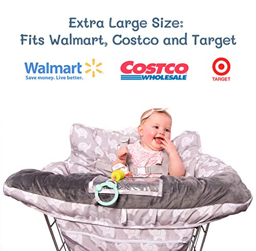 2-in-1 Baby Shopping Cart Cover and High Chair Protector - Germ-Protecting Seat Covers for Grocery Carts, Restaurant High-Chairs - Universal, Soft, Safe - Travel Gear for Babies, Infants by Tooshin Baby (Image #4)
